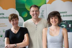 Dorothée Dumortier, Pierre Muller et Lou Egret sont les trois salariés de l'association Ecomanifestations Alsace, créée en 2015. (Document remis)