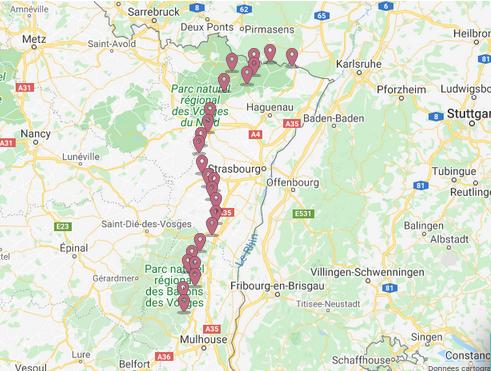 Le Chemin des châteaux forts d'Alsace.